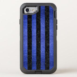 CAPA PARA iPhone 8/7 OtterBox DEFENDER MÁRMORE STRIPES1 PRETO & METAL ESCOVADO AZUL