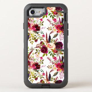 Capa Para iPhone 8/7 OtterBox Defender Marsala de Boho Borgonha floral no branco