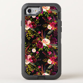 Capa Para iPhone 8/7 OtterBox Defender Marsala de Boho Borgonha floral no preto
