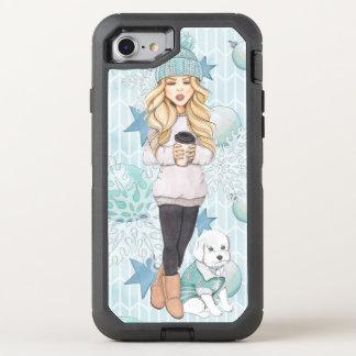 Capa Para iPhone 8/7 OtterBox Defender Menina loura com filhote de cachorro branco