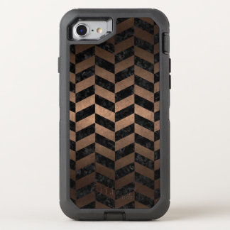CAPA PARA iPhone 8/7 OtterBox DEFENDER METAL PRETO DO MÁRMORE CHEVRON1 & DO BRONZE
