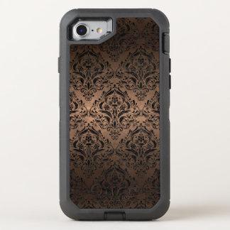 CAPA PARA iPhone 8/7 OtterBox DEFENDER METAL PRETO DO MÁRMORE DAMASK1 & DO BRONZE (R)