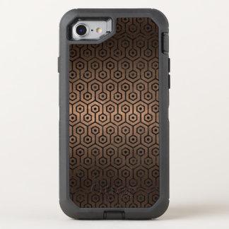 CAPA PARA iPhone 8/7 OtterBox DEFENDER METAL PRETO DO MÁRMORE HEXAGON1 & DO BRONZE (R)