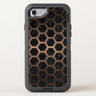 CAPA PARA iPhone 8/7 OtterBox DEFENDER METAL PRETO DO MÁRMORE HEXAGON2 & DO BRONZE