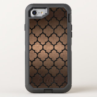 CAPA PARA iPhone 8/7 OtterBox DEFENDER METAL PRETO DO MÁRMORE TILE1 & DO BRONZE (R)