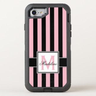 Capa Para iPhone 8/7 OtterBox Defender Monograma cor-de-rosa e preto das listras