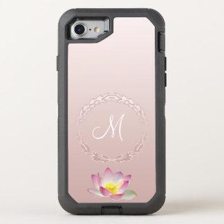 Capa Para iPhone 8/7 OtterBox Defender Monograma da grinalda do louro da flor de Lotus