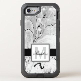 Capa Para iPhone 8/7 OtterBox Defender Monograma de mármore preto e branco