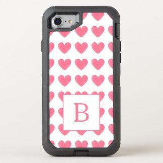 Capa Para iPhone 8/7 OtterBox Defender Monograma do teste padrão do coração do rosa da