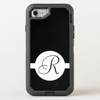 Capa Para iPhone 8/7 OtterBox Defender Monograma preto e branco do círculo