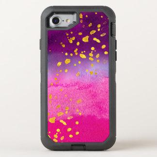 Capa Para iPhone 8/7 OtterBox Defender O ouro cor-de-rosa e roxo da aguarela e do falso
