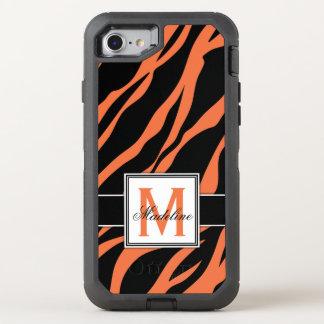 Capa Para iPhone 8/7 OtterBox Defender O tigre alaranjado listra o monograma, móvel