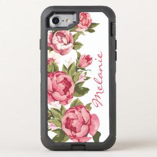 Capa Para iPhone 8/7 OtterBox Defender O vintage personalizado cora peônias cor-de-rosa