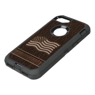 Capa Para iPhone 8/7 OtterBox Defender Obscuridade da bandeira dos EUA do Couro-Olhar