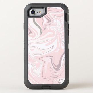 Capa Para iPhone 8/7 OtterBox Defender Olhar de mármore cor-de-rosa e branco minimalista