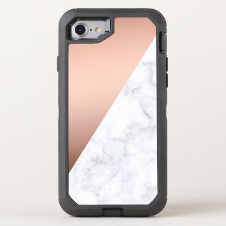 Capa Para iPhone 8/7 OtterBox Defender ouro cor-de-rosa do mármore branco geométrico