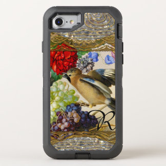 Capa Para iPhone 8/7 OtterBox Defender Pássaro pequeno do monograma legal do vintage