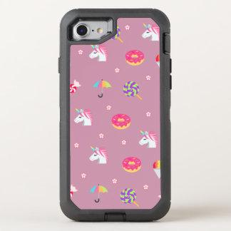 Capa Para iPhone 8/7 OtterBox Defender pirulitos cor-de-rosa bonitos das flores dos doces