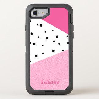 Capa Para iPhone 8/7 OtterBox Defender Pontos pretos de couro cor-de-rosa geométricos