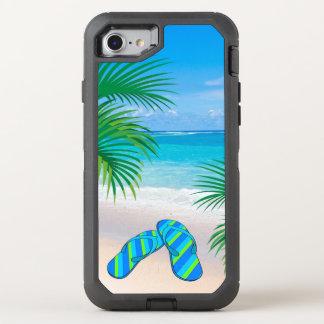 Capa Para iPhone 8/7 OtterBox Defender Praia tropical com palmeiras e chinelos