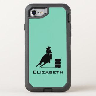 Capa Para iPhone 8/7 OtterBox Defender Rodeio da silhueta do piloto do tambor da vaqueira