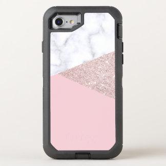 Capa Para iPhone 8/7 OtterBox Defender Rosa de mármore branco do brilho cor-de-rosa