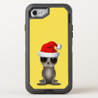Capa Para iPhone 8/7 OtterBox Defender Selo de bebê que veste um chapéu do papai noel