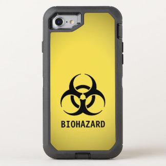 Capa Para iPhone 8/7 OtterBox Defender Símbolo preto do Biohazard no amarelo