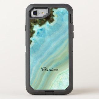 Capa Para iPhone 8/7 OtterBox Defender Teste padrão azul do cristal de Geode da ágata do