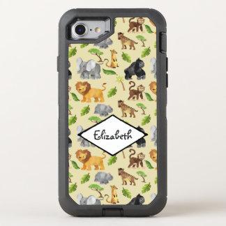 Capa Para iPhone 8/7 OtterBox Defender Teste padrão da selva do safari do animal selvagem