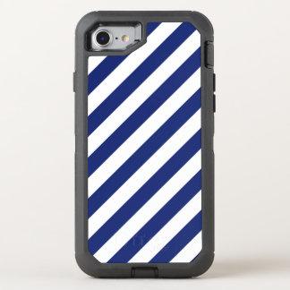 Capa Para iPhone 8/7 OtterBox Defender Teste padrão diagonal do azul marinho e o branco
