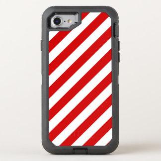 Capa Para iPhone 8/7 OtterBox Defender Teste padrão diagonal vermelho e branco das