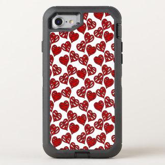 Capa Para iPhone 8/7 OtterBox Defender Teste padrão esboçado dos corações do divertimento