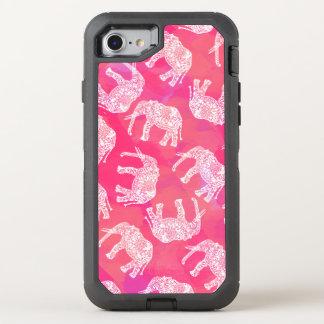 Capa Para iPhone 8/7 OtterBox Defender teste padrão floral tribal colorido cor-de-rosa