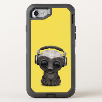 Capa Para iPhone 8/7 OtterBox Defender Texugo de mel bonito DJ do bebê que veste fones de