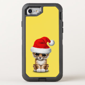 Capa Para iPhone 8/7 OtterBox Defender Tigre Cub bonito que veste um chapéu do papai noel
