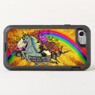 Capa Para iPhone 8/7 OtterBox Defender Unicórnio, arco-íris & bacon impressionantes da