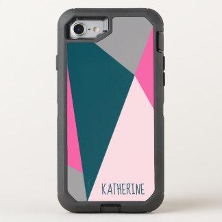 Capa Para iPhone 8/7 OtterBox Defender Verde esmeralda pastel geométrico elegante de rosa