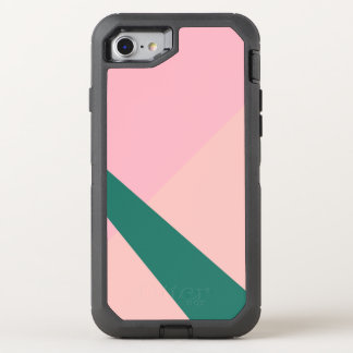 Capa Para iPhone 8/7 OtterBox Defender Verde geométrico elegante do pêssego do rosa