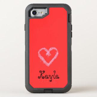 Capa Para iPhone 8/7 OtterBox Defender Vermelho branco do coração com namorados do fundo