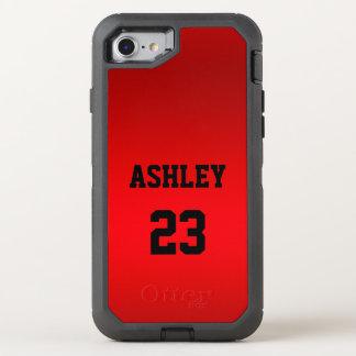 Capa Para iPhone 8/7 OtterBox Defender Vermelho do número do jérsei dos esportes e o