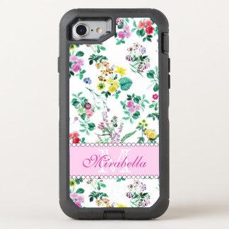 Capa Para iPhone 8/7 OtterBox Defender Wildflowers & rosas amarelos vermelhos roxos