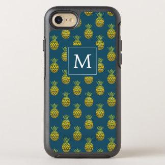 Capa Para iPhone 8/7 OtterBox Symmetry Abacaxis do azul do monograma |