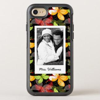 Capa Para iPhone 8/7 OtterBox Symmetry Adicione seu teste padrão escuro do outono da foto
