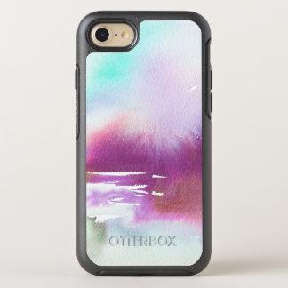 Capa Para iPhone 8/7 OtterBox Symmetry Aguarela roxa do branco da cerceta