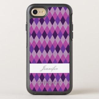 Capa Para iPhone 8/7 OtterBox Symmetry Argyle roxo chique com caso conhecido