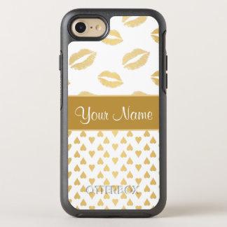 Capa Para iPhone 8/7 OtterBox Symmetry Beijos do branco e do ouro e corações do amor