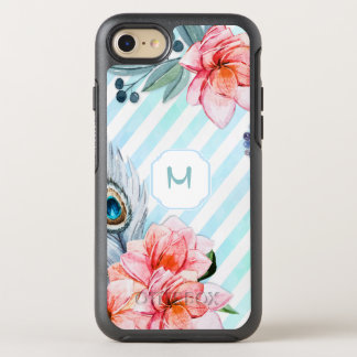 Capa Para iPhone 8/7 OtterBox Symmetry Boho empluma-se a listra da aguarela floral