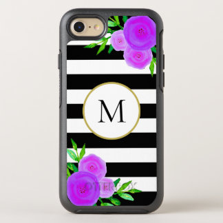 Capa Para iPhone 8/7 OtterBox Symmetry Branco floral roxo feminino do preto do monograma