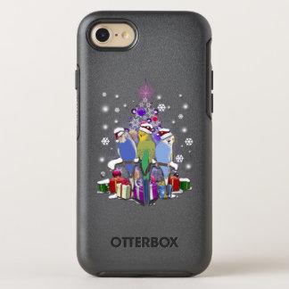 Capa Para iPhone 8/7 OtterBox Symmetry Budgerigars com presente e flocos de neve do Natal
